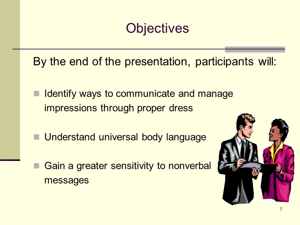 Objectives By the end of the presentation, participants will: