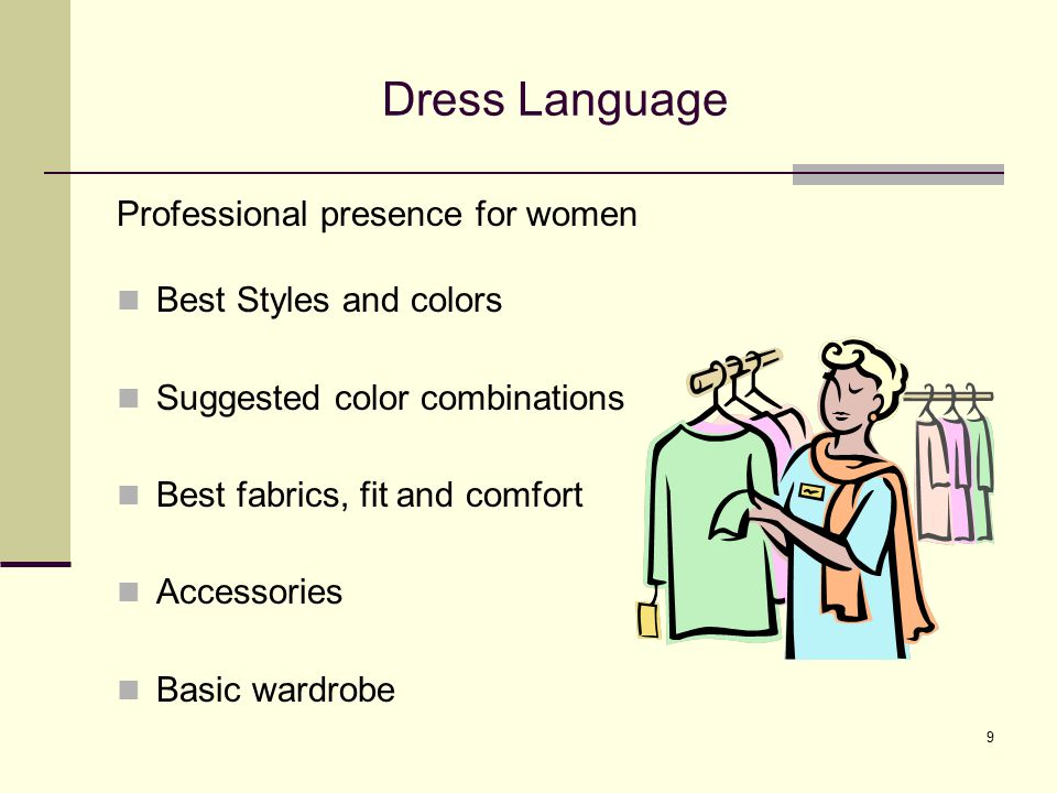 Dress Language Professional presence for women Best Styles and colors