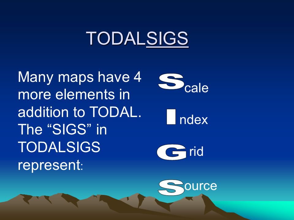 TODALSIGS Many maps have 4 more elements in addition to TODAL. The SIGS in TODALSIGS represent: cale.