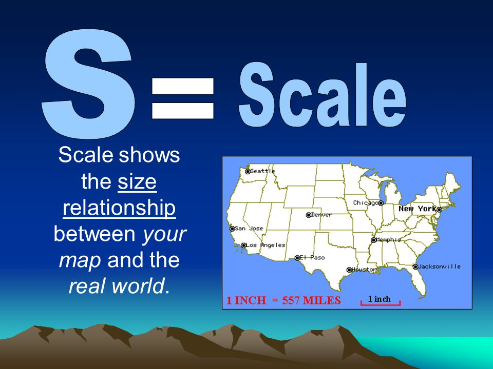 Scale shows the size relationship between your map and the real world.