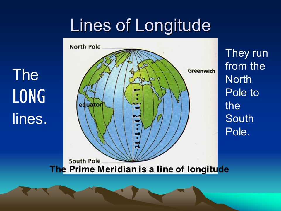 Lines of Longitude The LONG lines.
