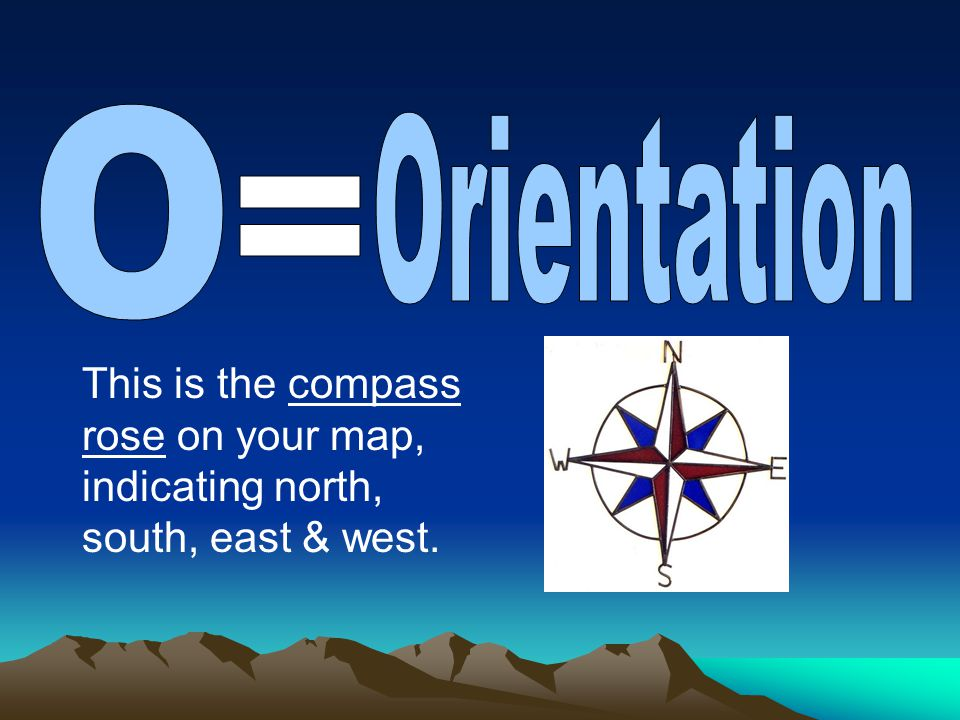 O Orientation = This is the compass rose on your map, indicating north, south, east & west.