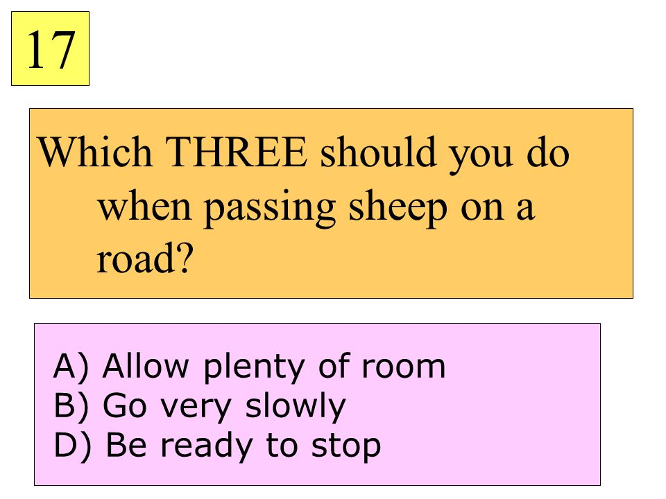Which THREE should you do when passing sheep on a road
