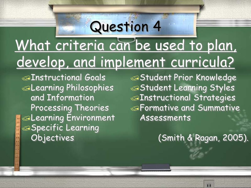 What criteria can be used to plan, develop, and implement curricula