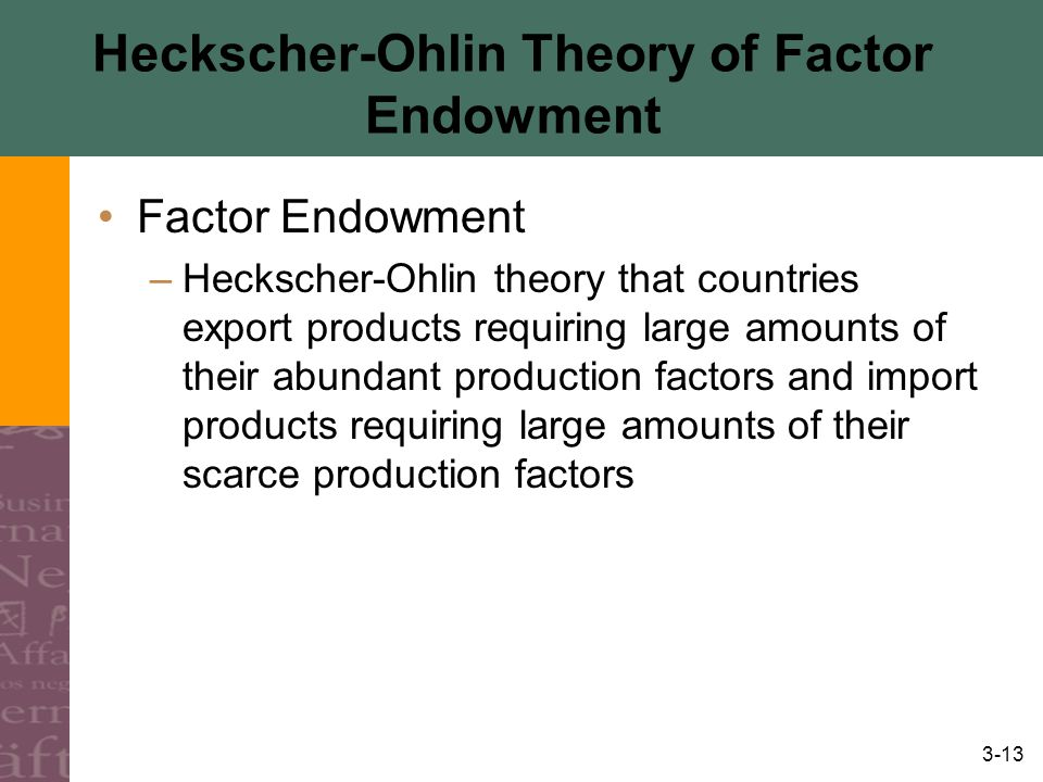 Heckscher-Ohlin Theory of Factor Endowment
