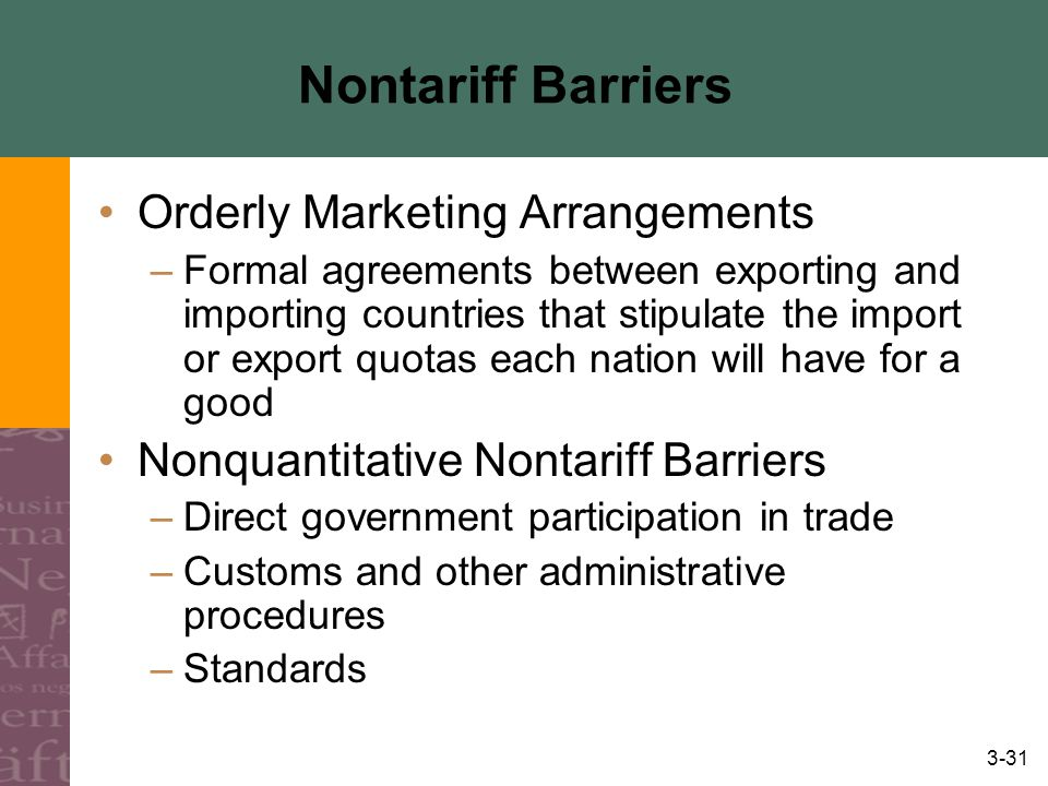 Nontariff Barriers Orderly Marketing Arrangements
