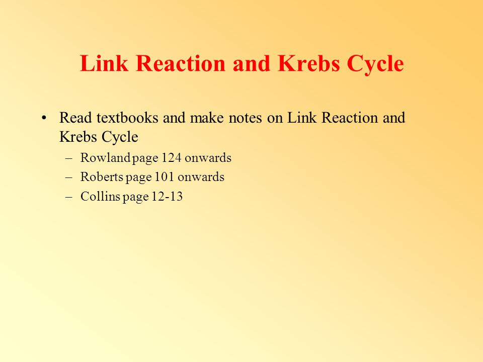 Link Reaction and Krebs Cycle