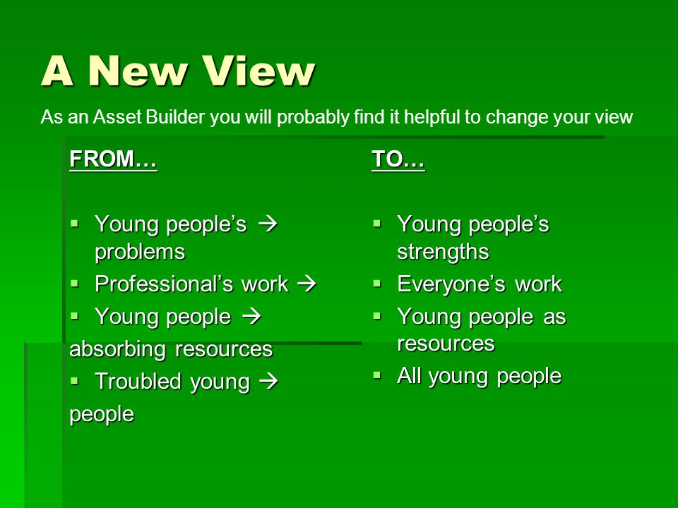 A New View FROM… Young people's  problems Professional's work 