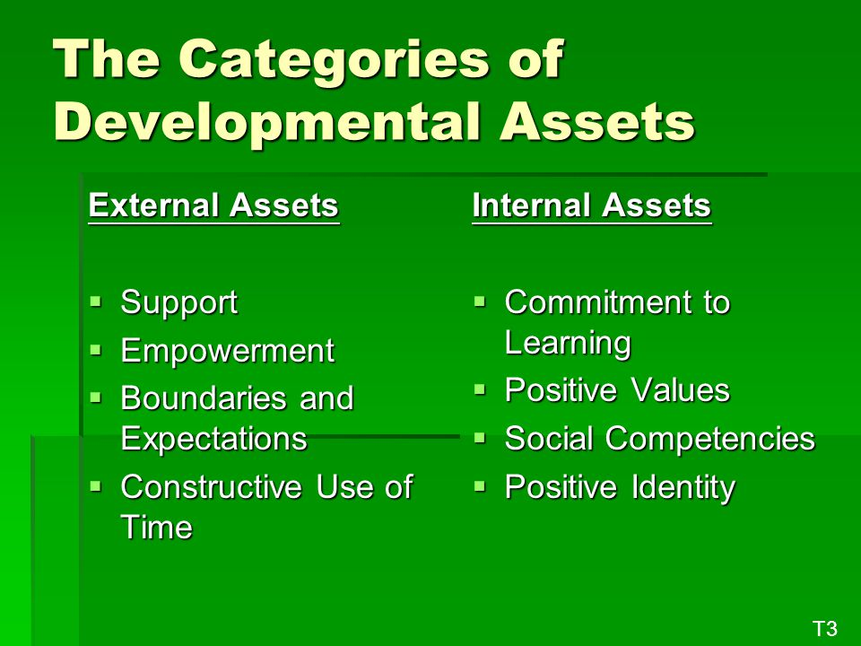 The Categories of Developmental Assets