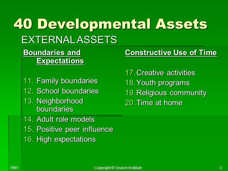 40 Developmental Assets EXTERNAL ASSETS Boundaries and Expectations