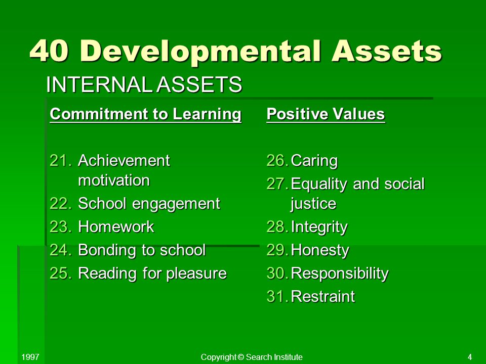 40 Developmental Assets INTERNAL ASSETS Commitment to Learning