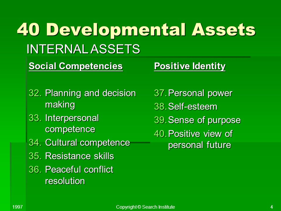 40 Developmental Assets INTERNAL ASSETS Social Competencies