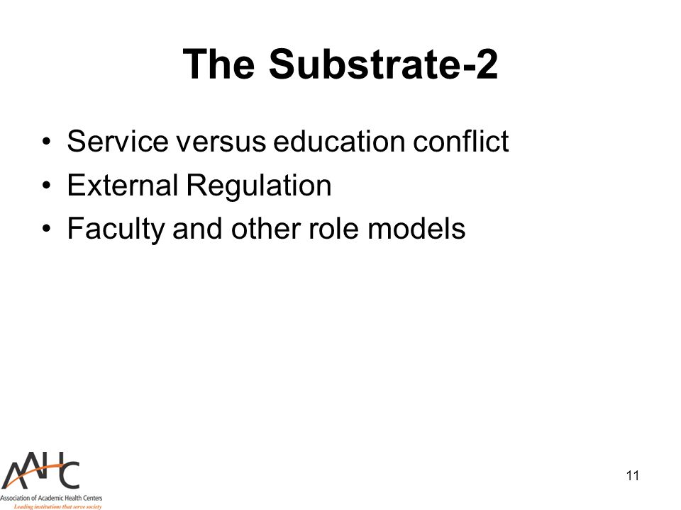 The Substrate-2 Service versus education conflict External Regulation