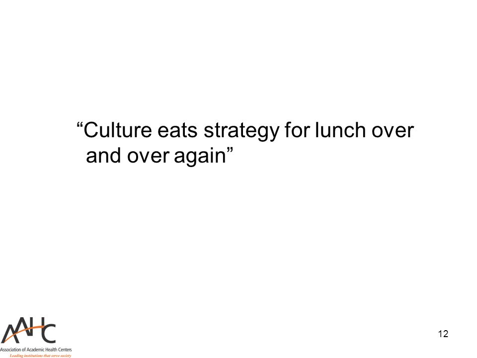 Culture eats strategy for lunch over and over again