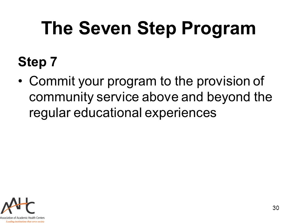 The Seven Step Program Step 7
