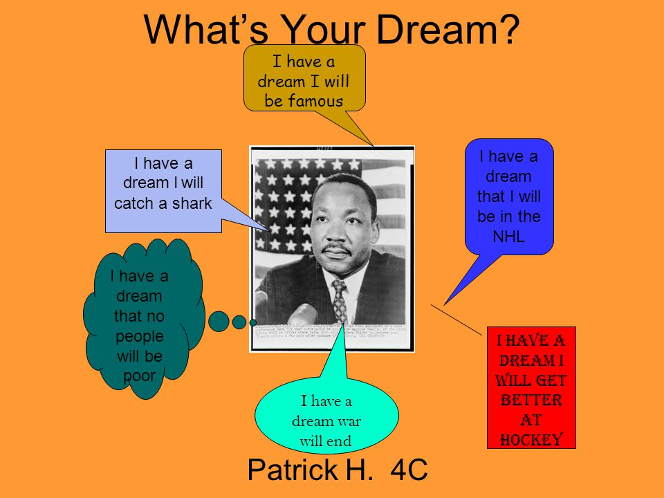 What's Your Dream Patrick H. 4C I have a dream I will be famous