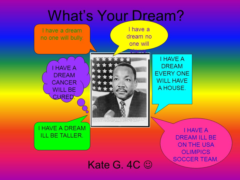 What's Your Dream Kate G. 4C  I have a dream no one will starve.