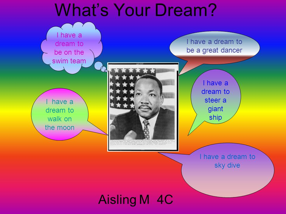 What's Your Dream Aisling M 4C I have a dream to be on the swim team