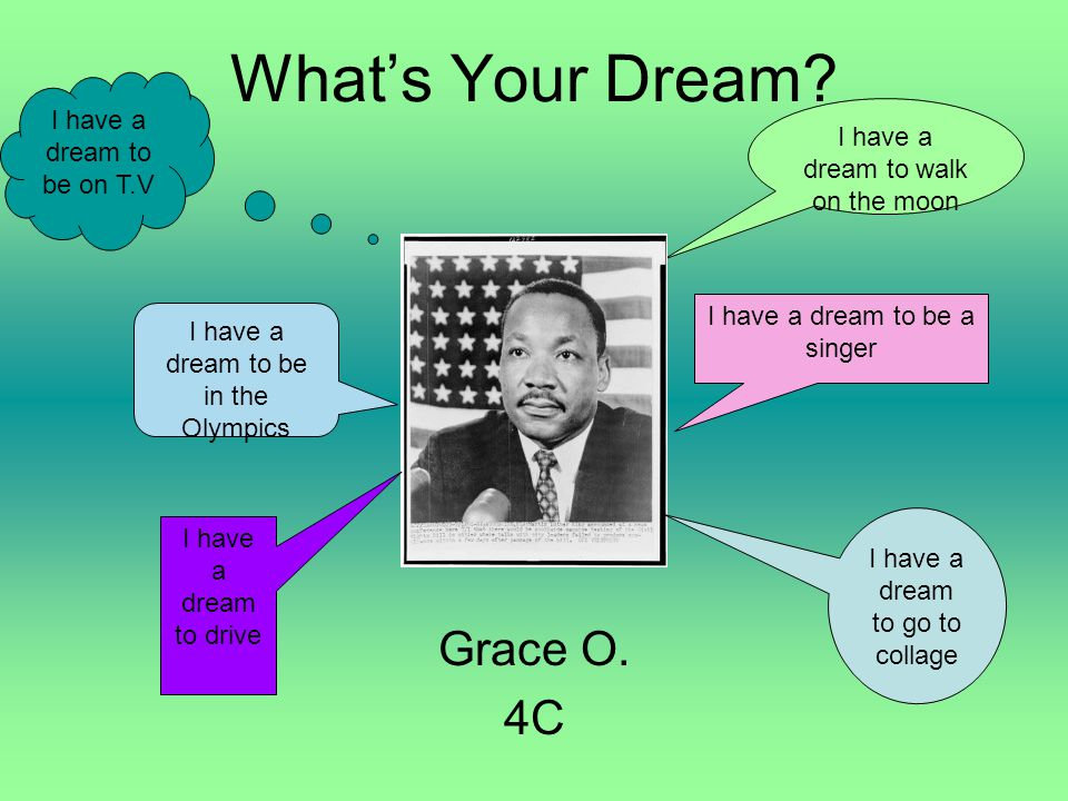 What's Your Dream Grace O. 4C I have a dream to be on T.V