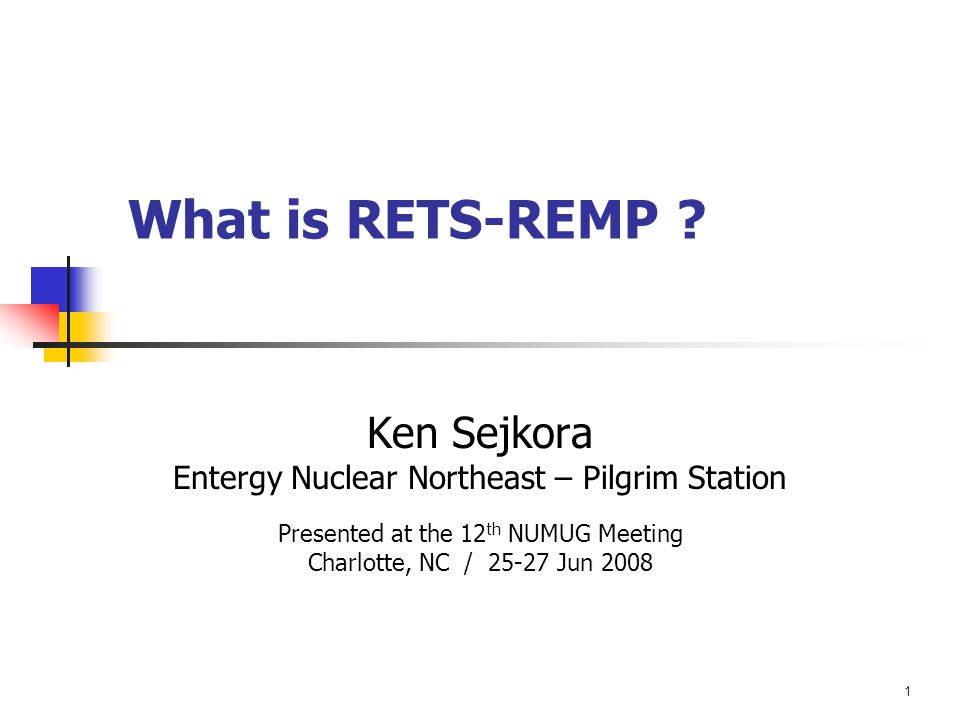 Sejkora: What is RETS-REMP