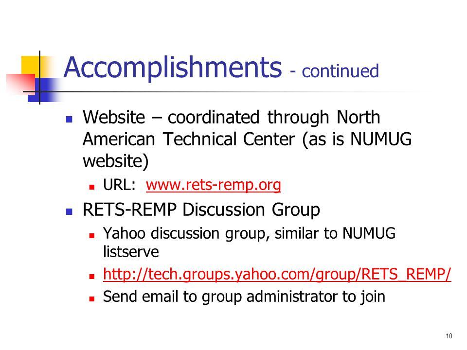 Accomplishments - continued