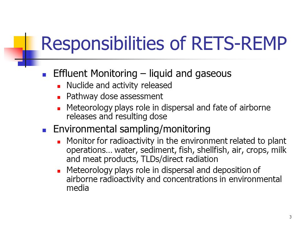 Responsibilities of RETS-REMP