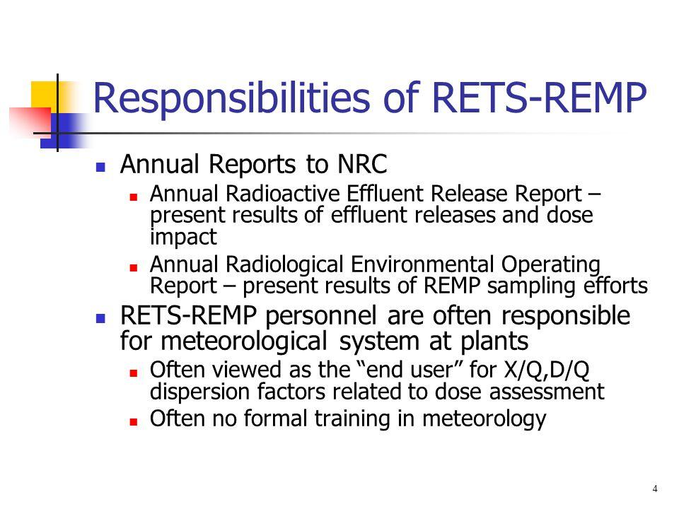 Responsibilities of RETS-REMP