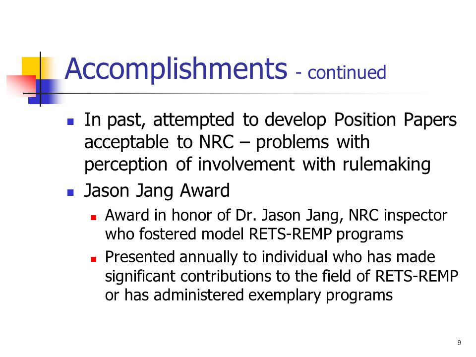 Accomplishments - continued