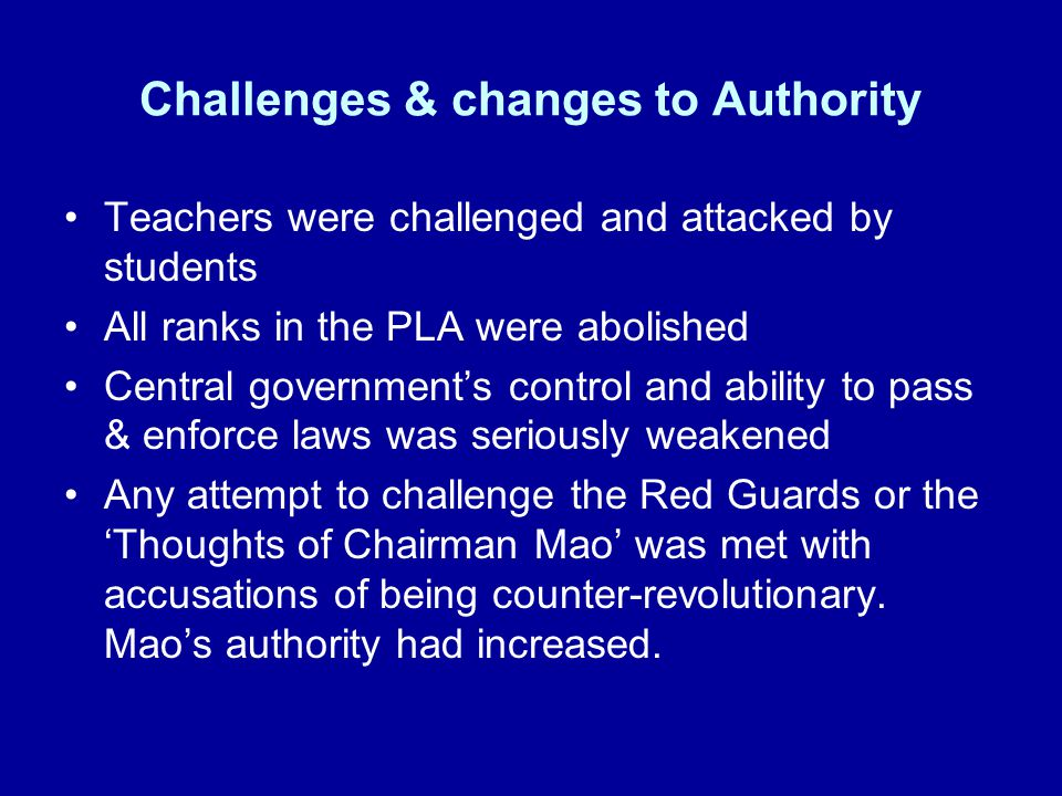 Challenges & changes to Authority
