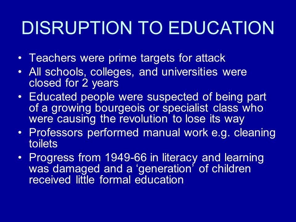 DISRUPTION TO EDUCATION