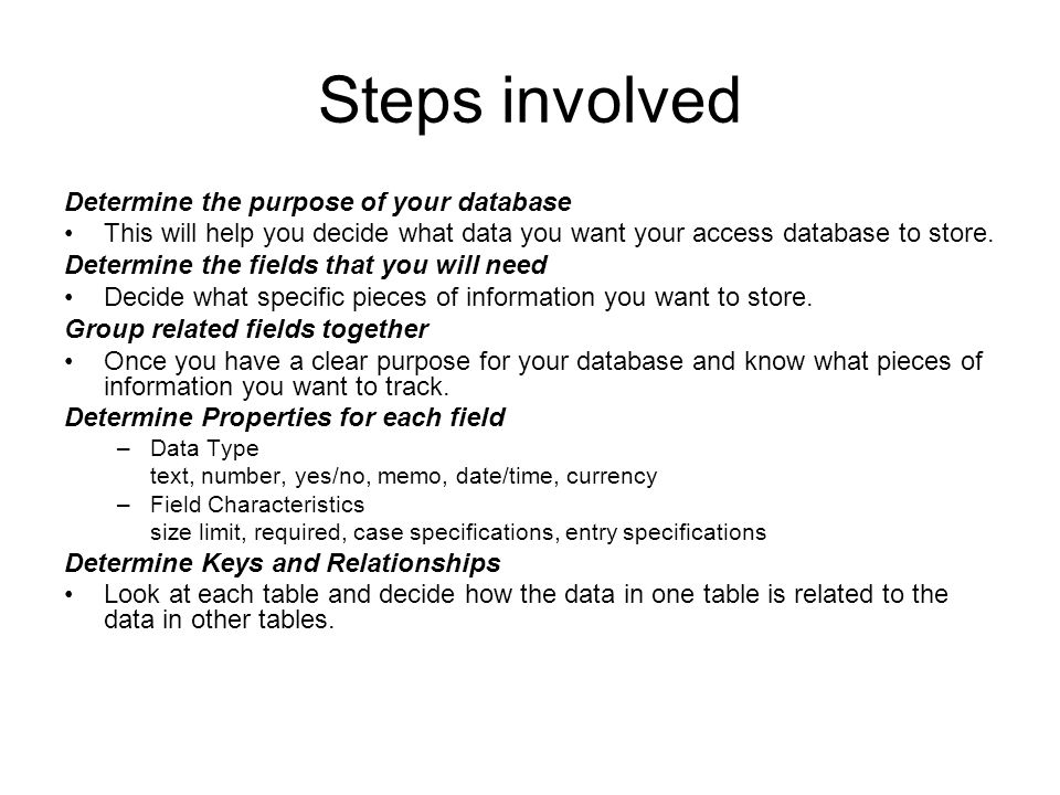 Steps involved Determine the purpose of your database