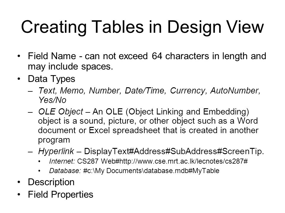 Creating Tables in Design View