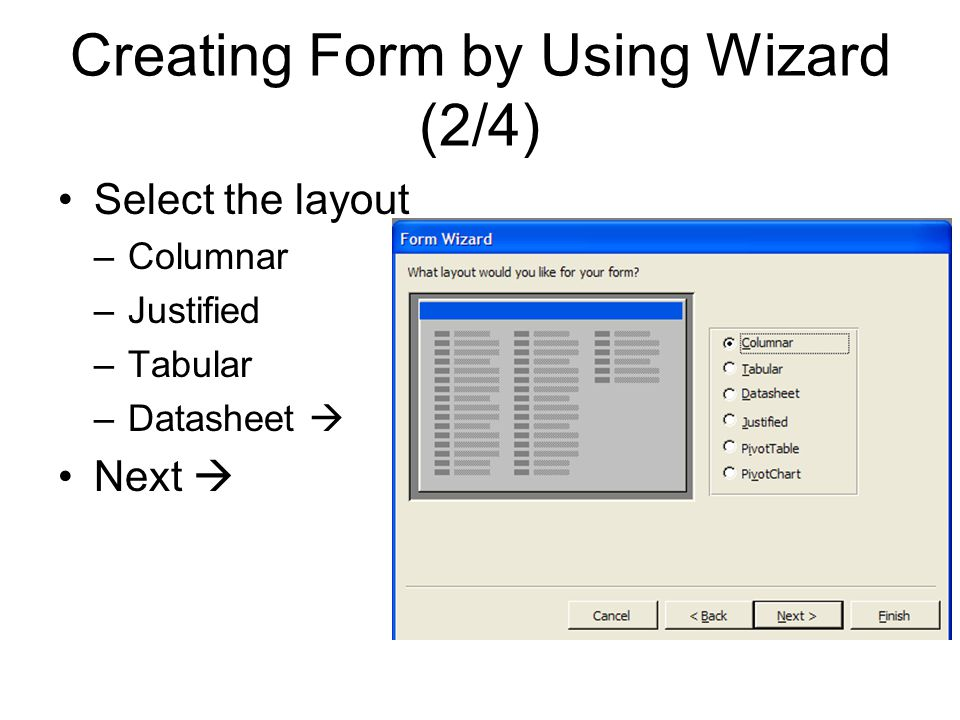Creating Form by Using Wizard (2/4)