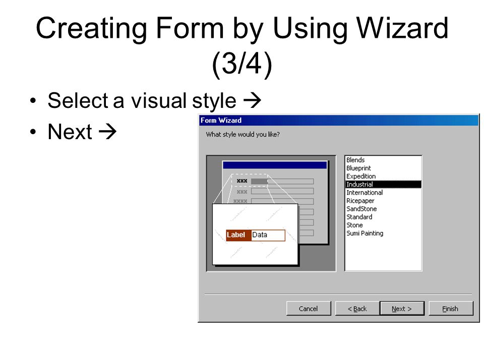 Creating Form by Using Wizard (3/4)