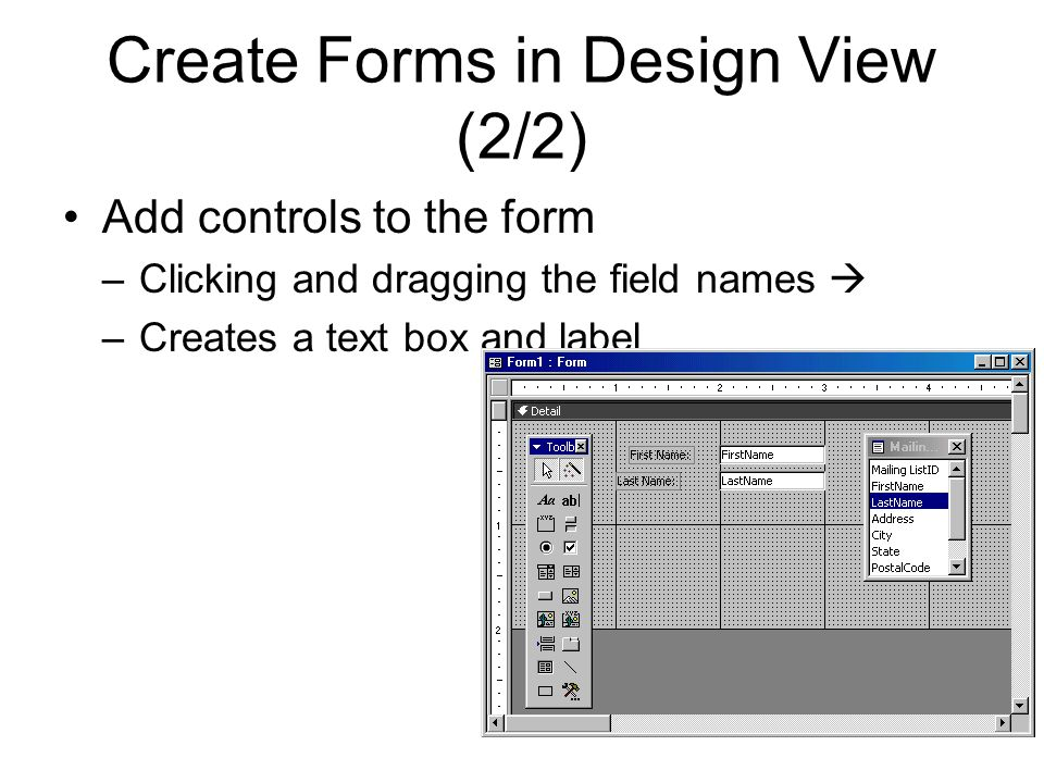 Create Forms in Design View (2/2)