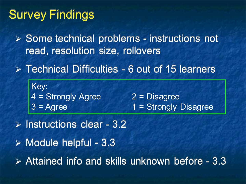 Survey Findings Some technical problems - instructions not read, resolution size, rollovers. Technical Difficulties - 6 out of 15 learners.