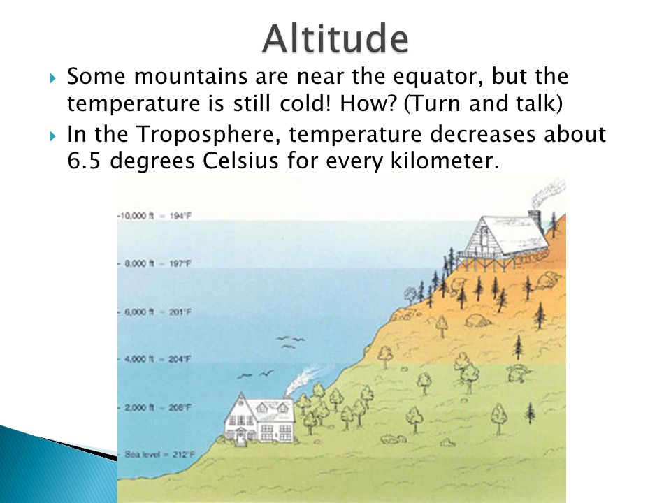 Altitude Some mountains are near the equator, but the temperature is still cold! How (Turn and talk)