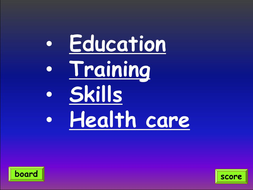 Education Training Skills Health care board score