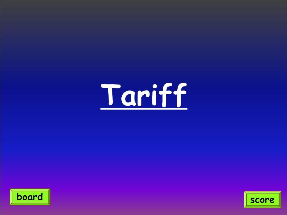Tariff board score