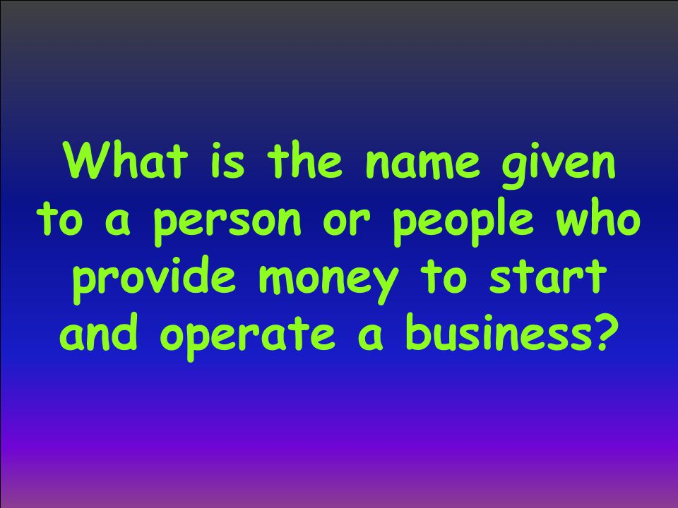 What is the name given to a person or people who provide money to start and operate a business