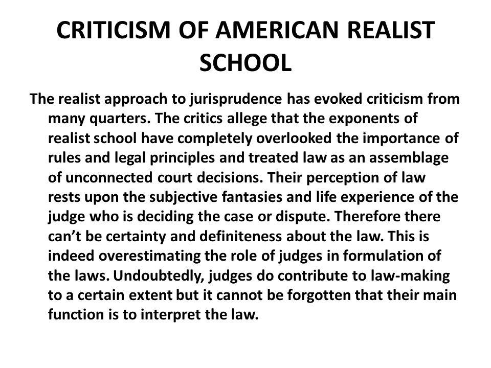 CRITICISM OF AMERICAN REALIST SCHOOL