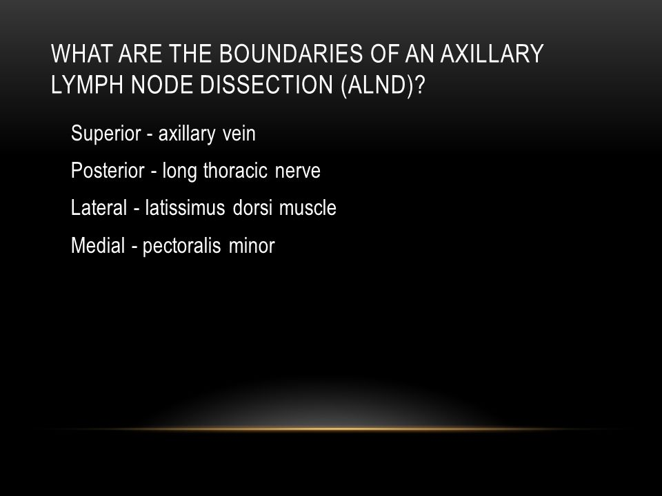 What are the boundaries of an axillary lymph node dissection (ALND)