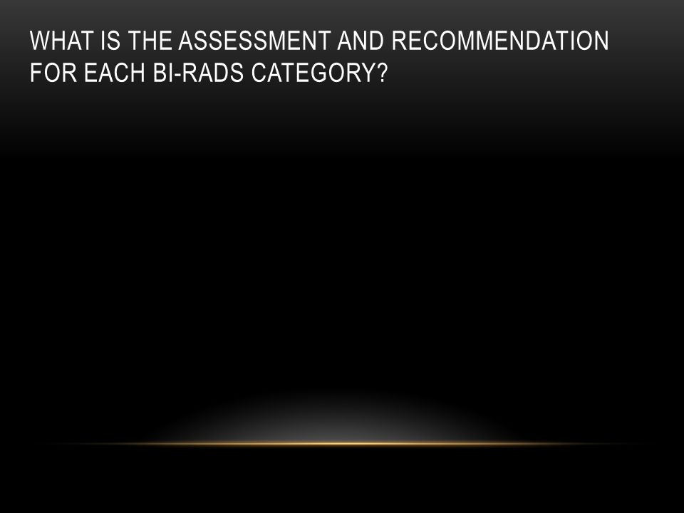 What is the assessment and recommendation for each BI-RADS category