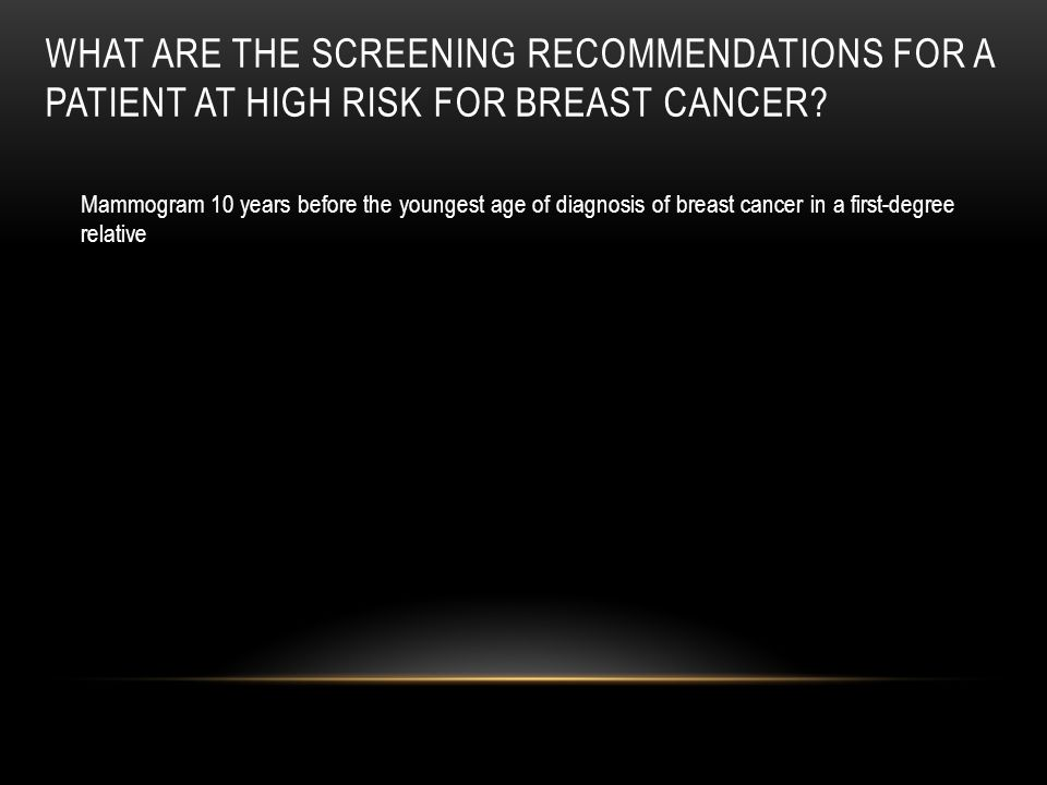 What are the screening recommendations for a patient at high risk for breast cancer