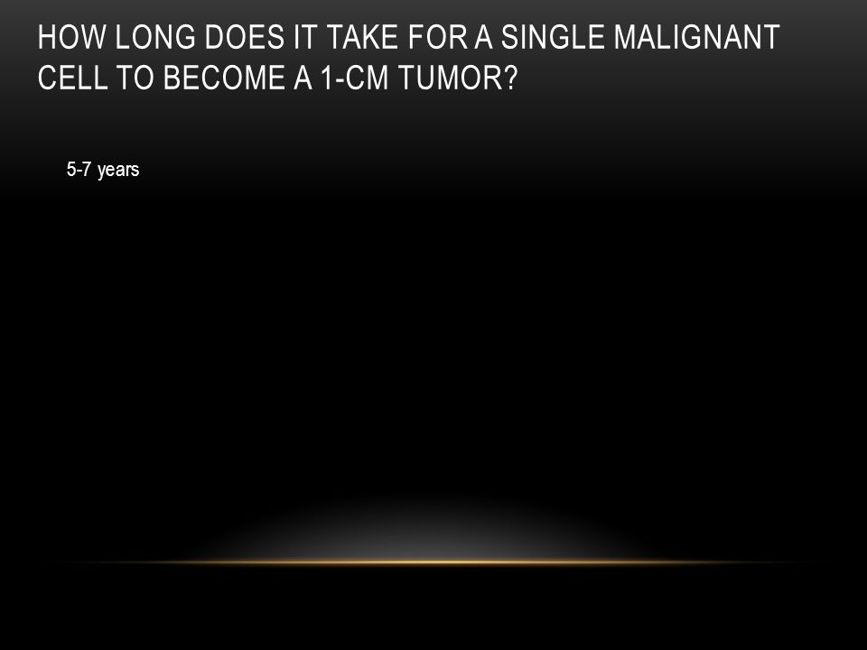 How long does it take for a single malignant cell to become a 1-cm tumor