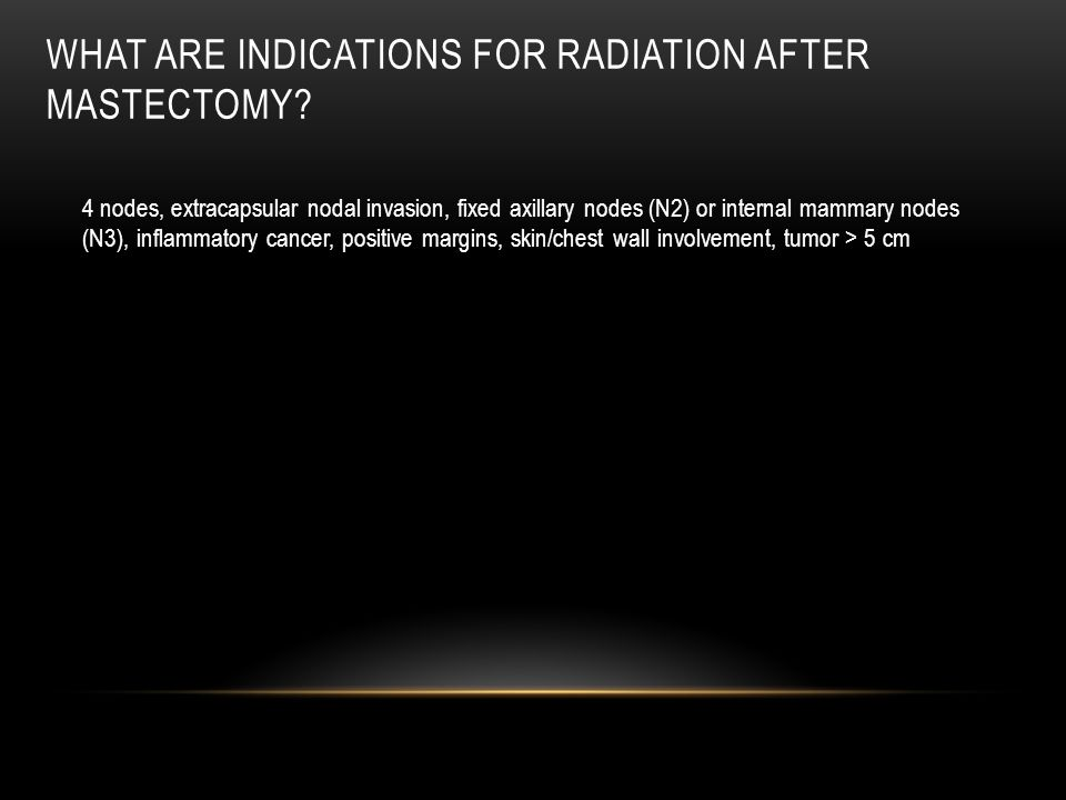 What are indications for radiation after mastectomy