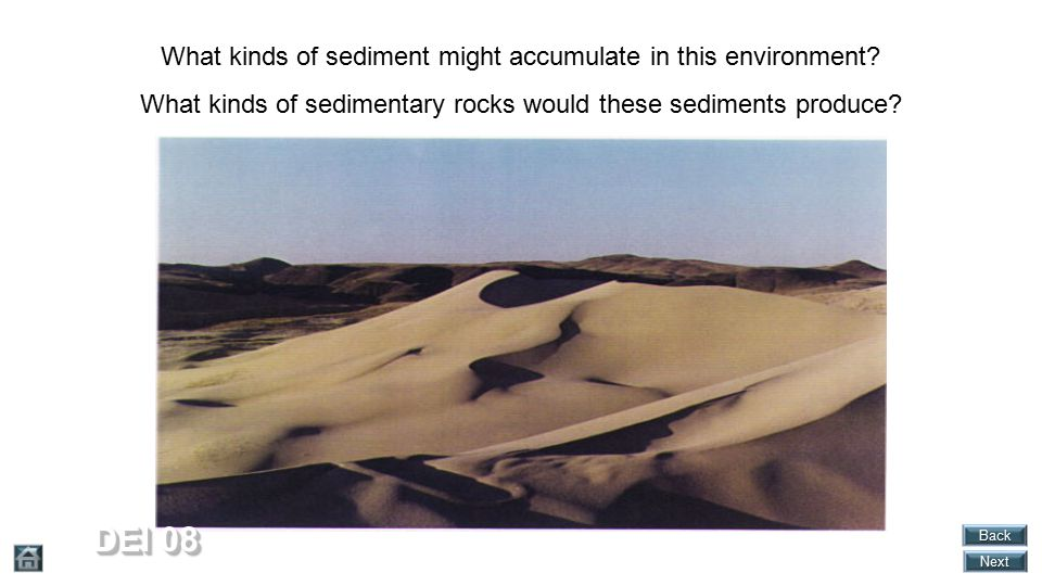 DEI 08 What kinds of sediment might accumulate in this environment