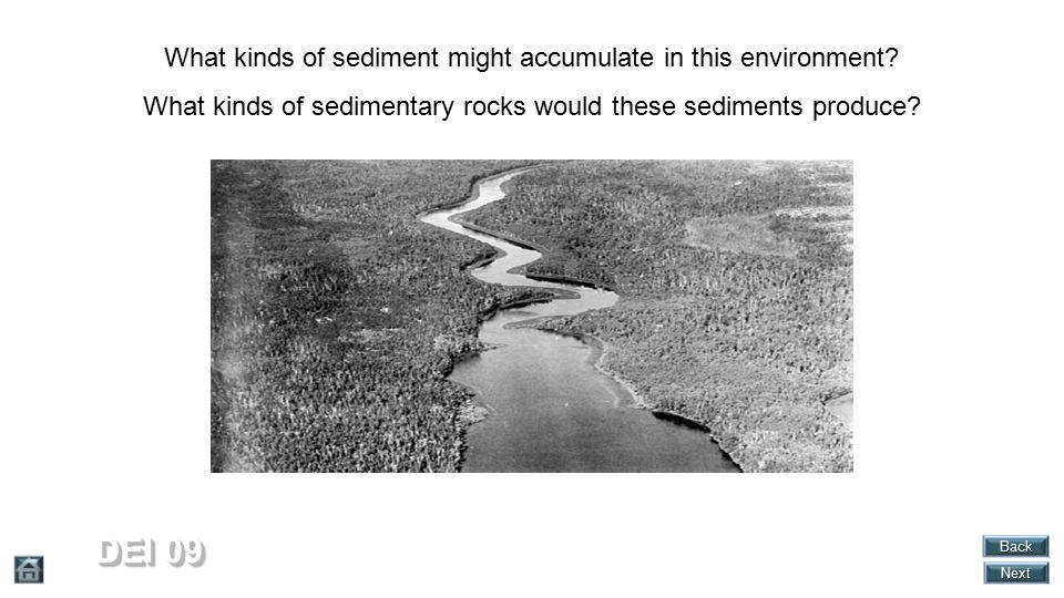 DEI 09 What kinds of sediment might accumulate in this environment