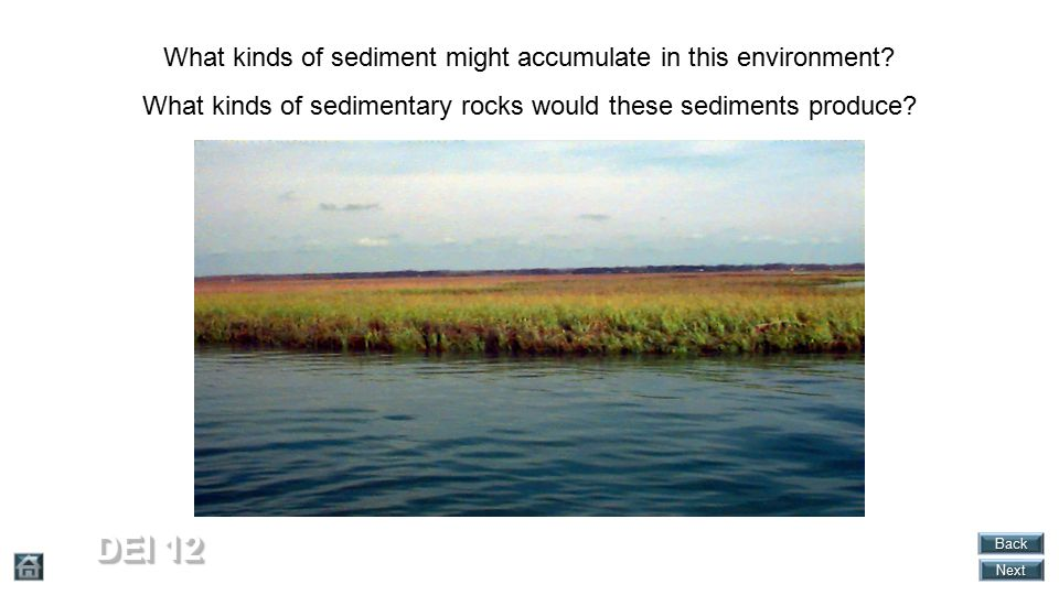DEI 12 What kinds of sediment might accumulate in this environment