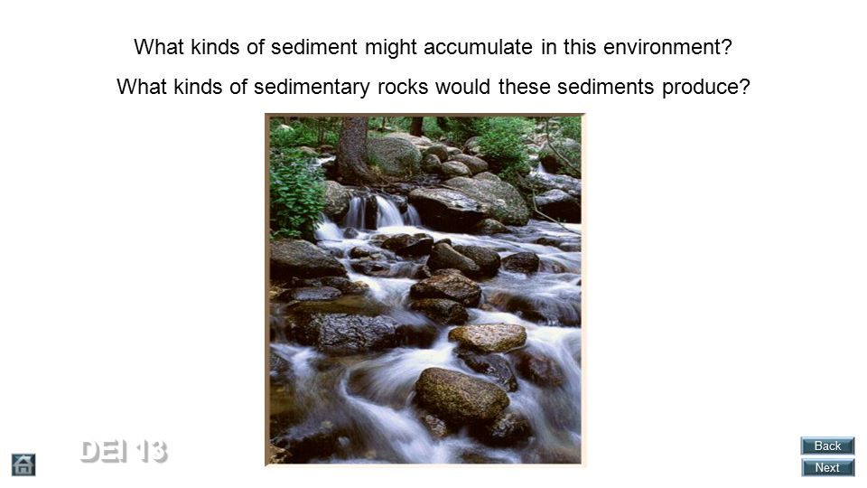 DEI 13 What kinds of sediment might accumulate in this environment